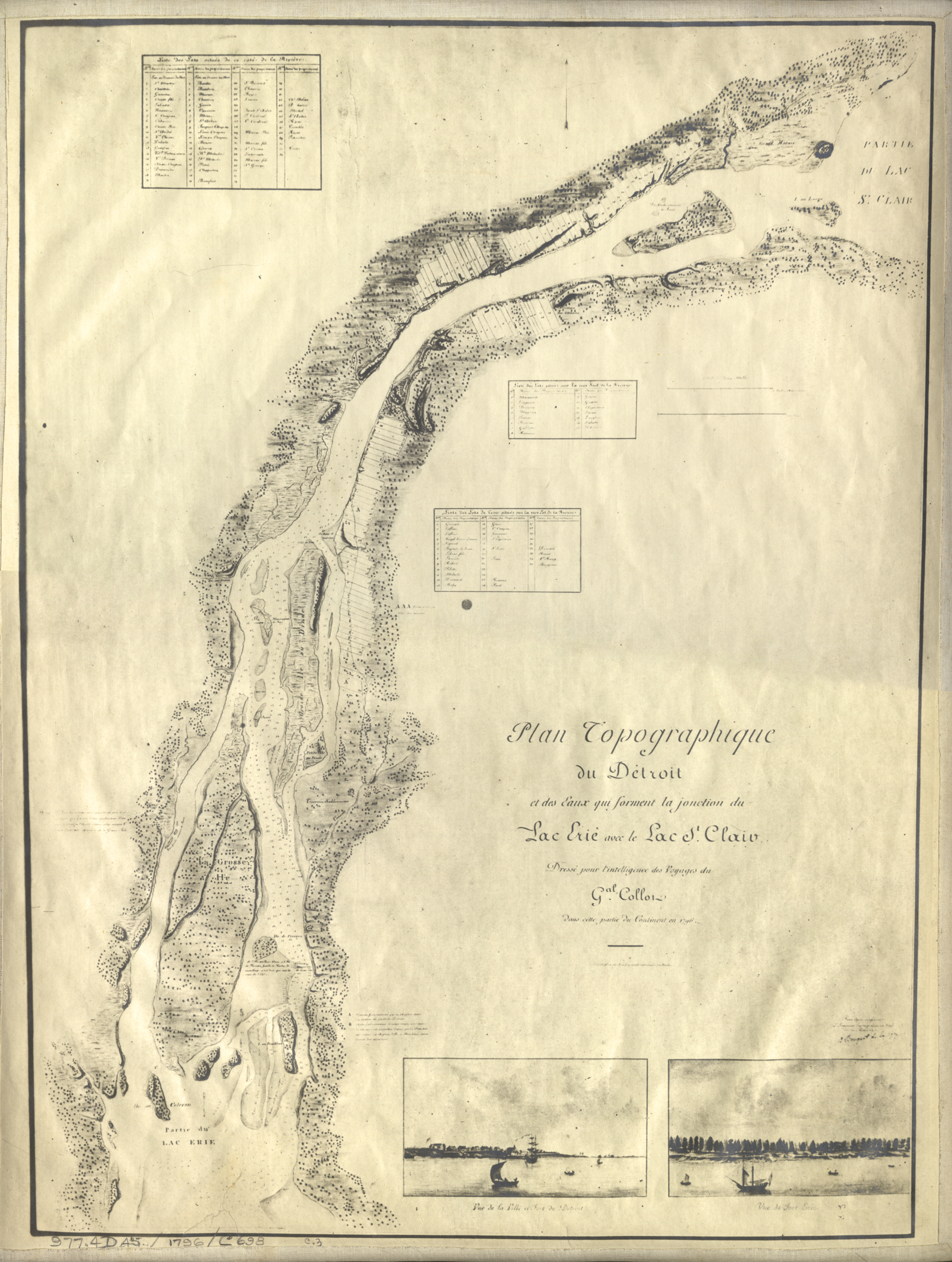 Map Of Detroit River From Lake Erie To Lake St Clair DPL DAMS - Lake erie topographic map