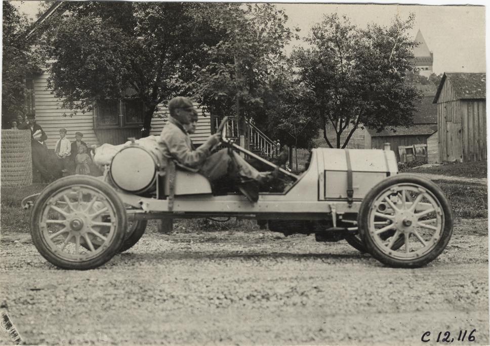 Joseph Matson and passenger in Chalmers-Detroit racecar, 1909 ...