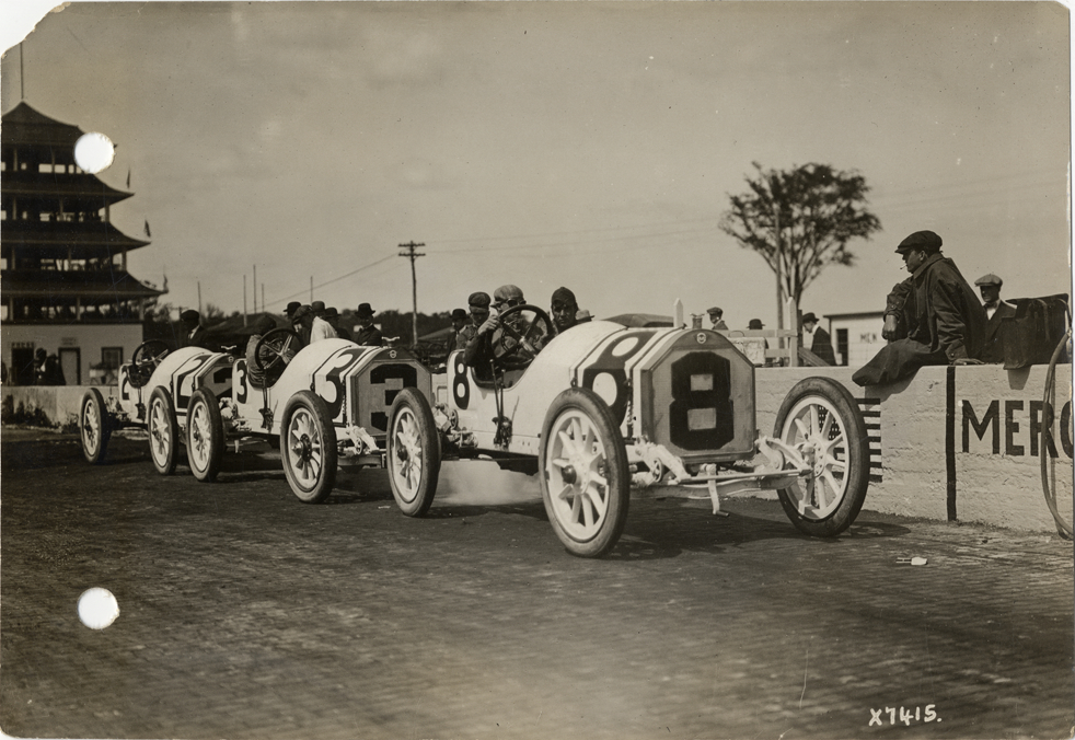 Stutz Racecars Lined Up On Track Indianapolis Automobile