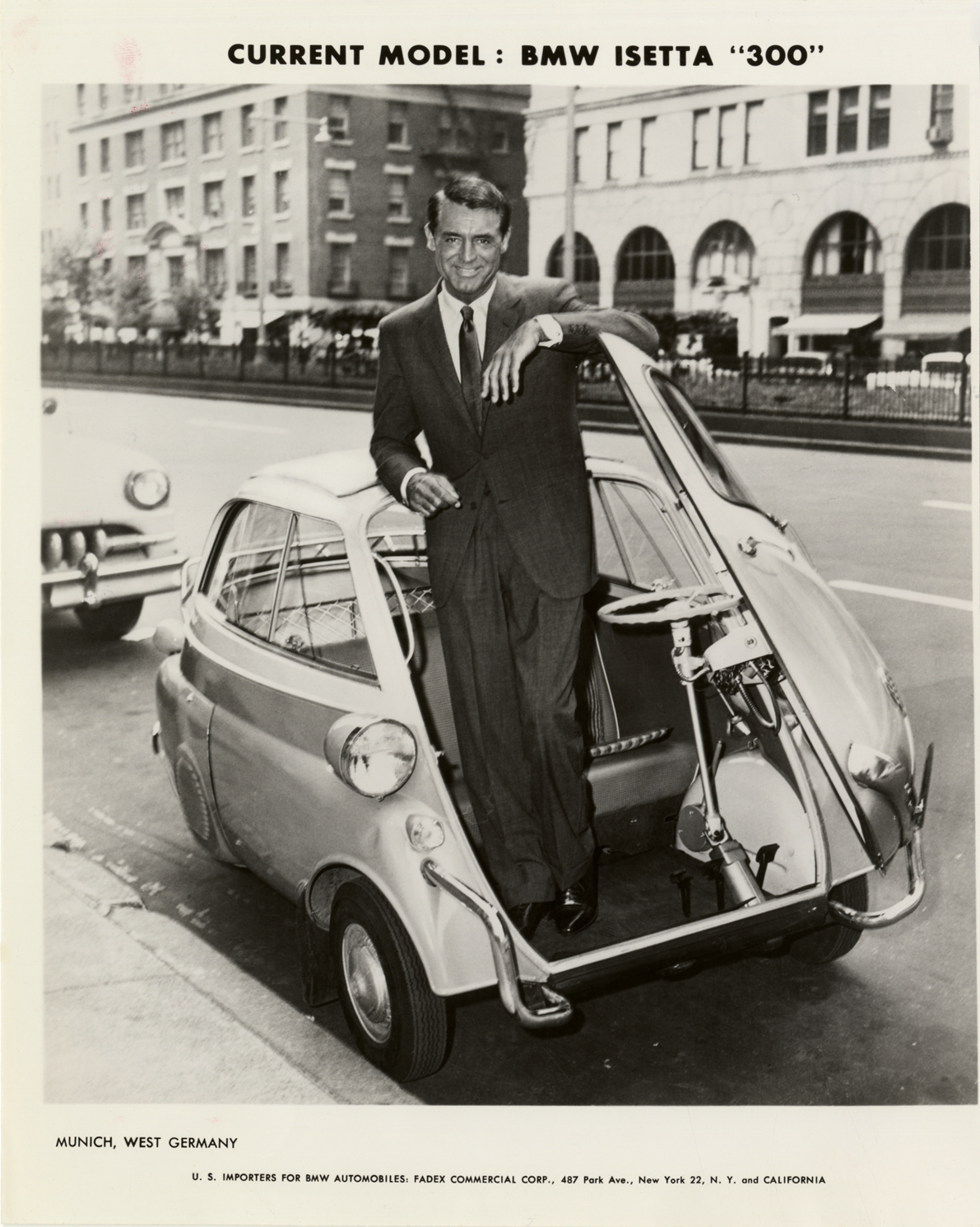 Cary Grant Posing With 1960 Bmw Isetta Quot 300 Quot Automobile