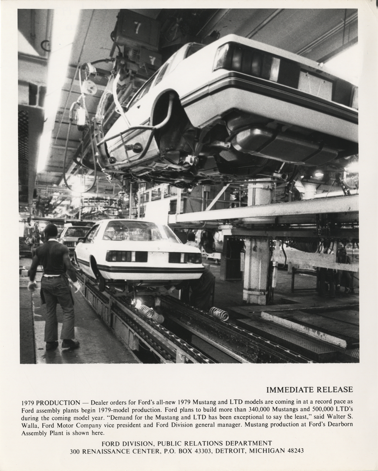 Mustang automobiles on assembly line at ford motor company for Ford motor company in dearborn michigan