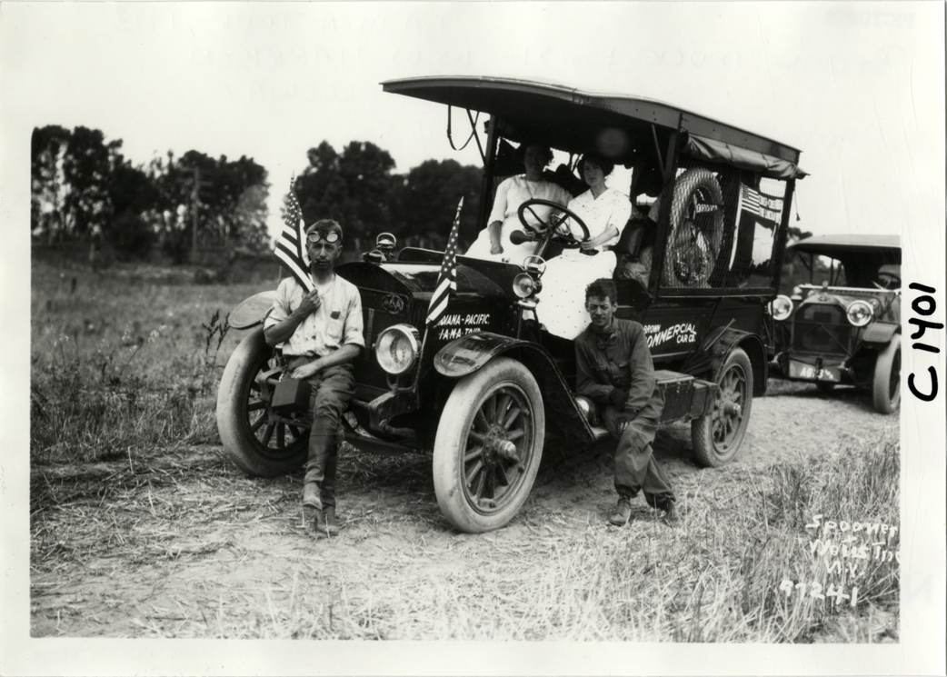 Motorists Posing With Brown Truck 1913 Indiana Automobile
