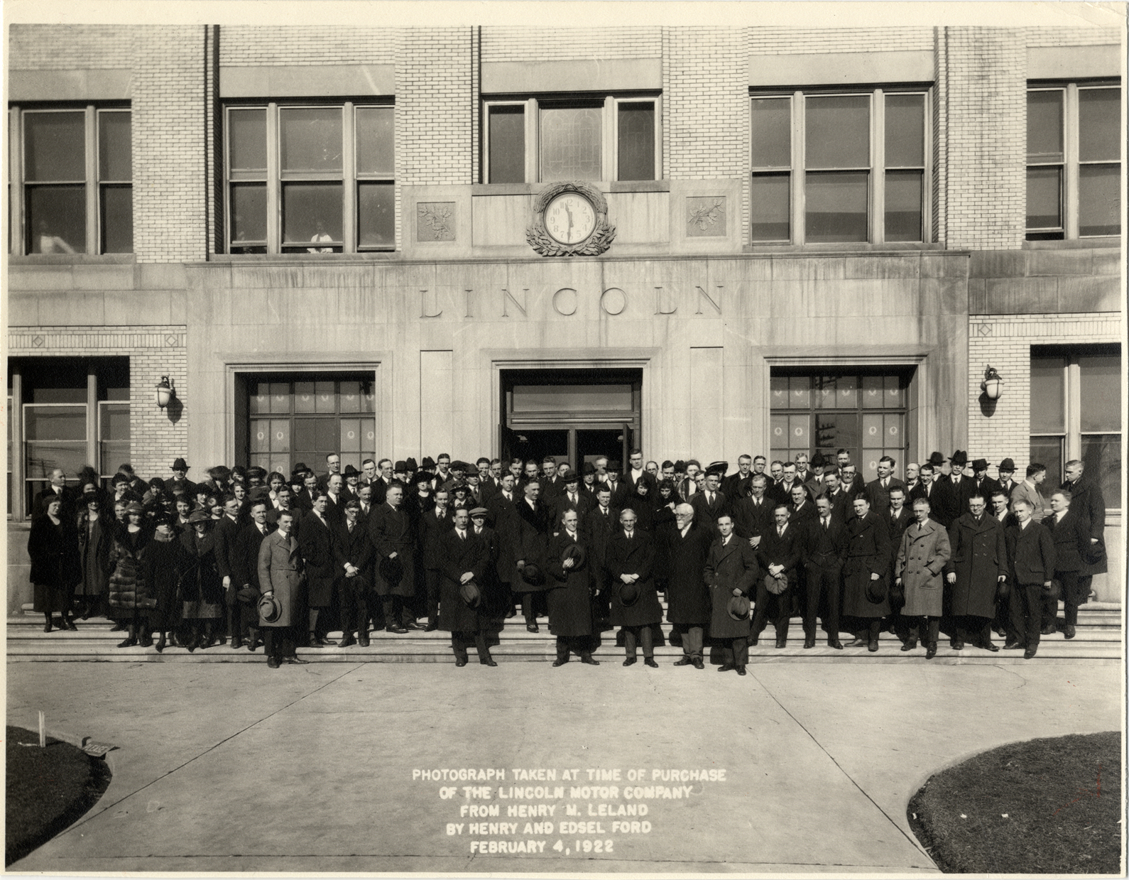 Henry M Leland And Group Of Men And Women Posing In Front Of