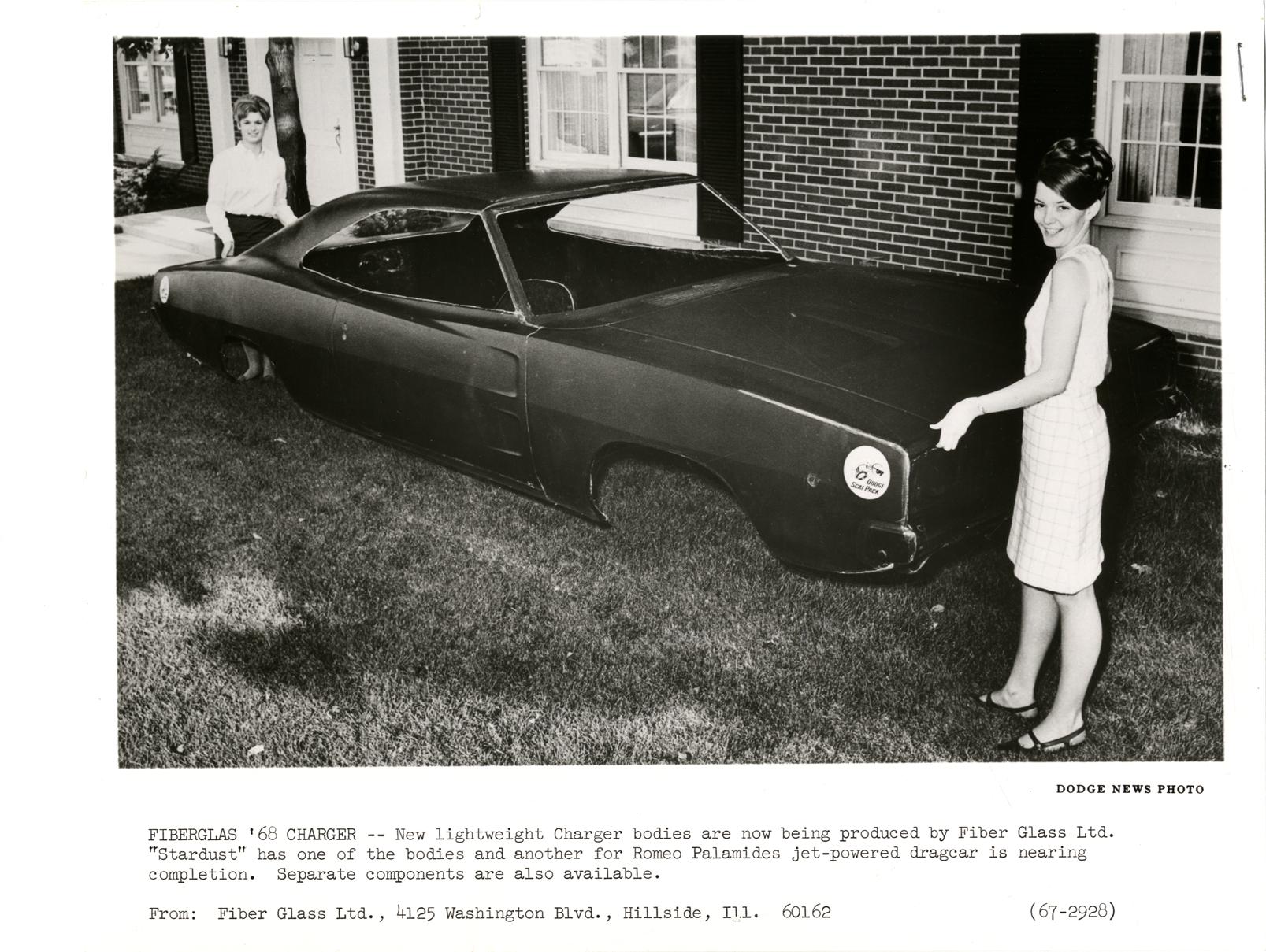Women Holding A 1968 Dodge Charger Automobile Fiberglass Body Dpl Dams White