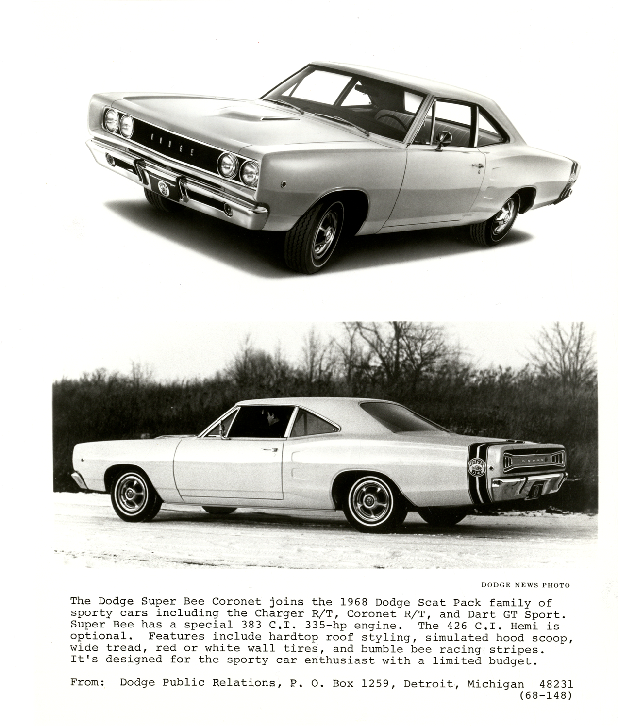 1968 Dodge Super Bee Automobile Dpl Dams Charger White