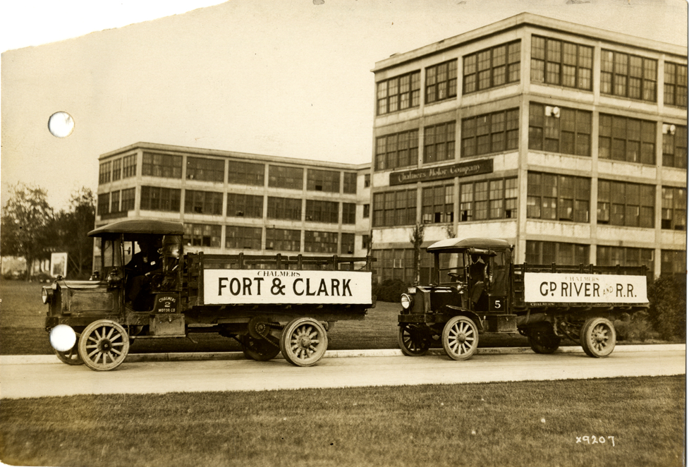 Trucks parked in front of Chalmers Motor Company factory during streetcar strike