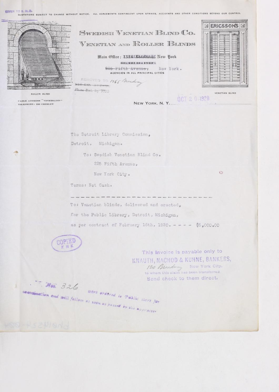 Correspondence regarding Main Library construction, November