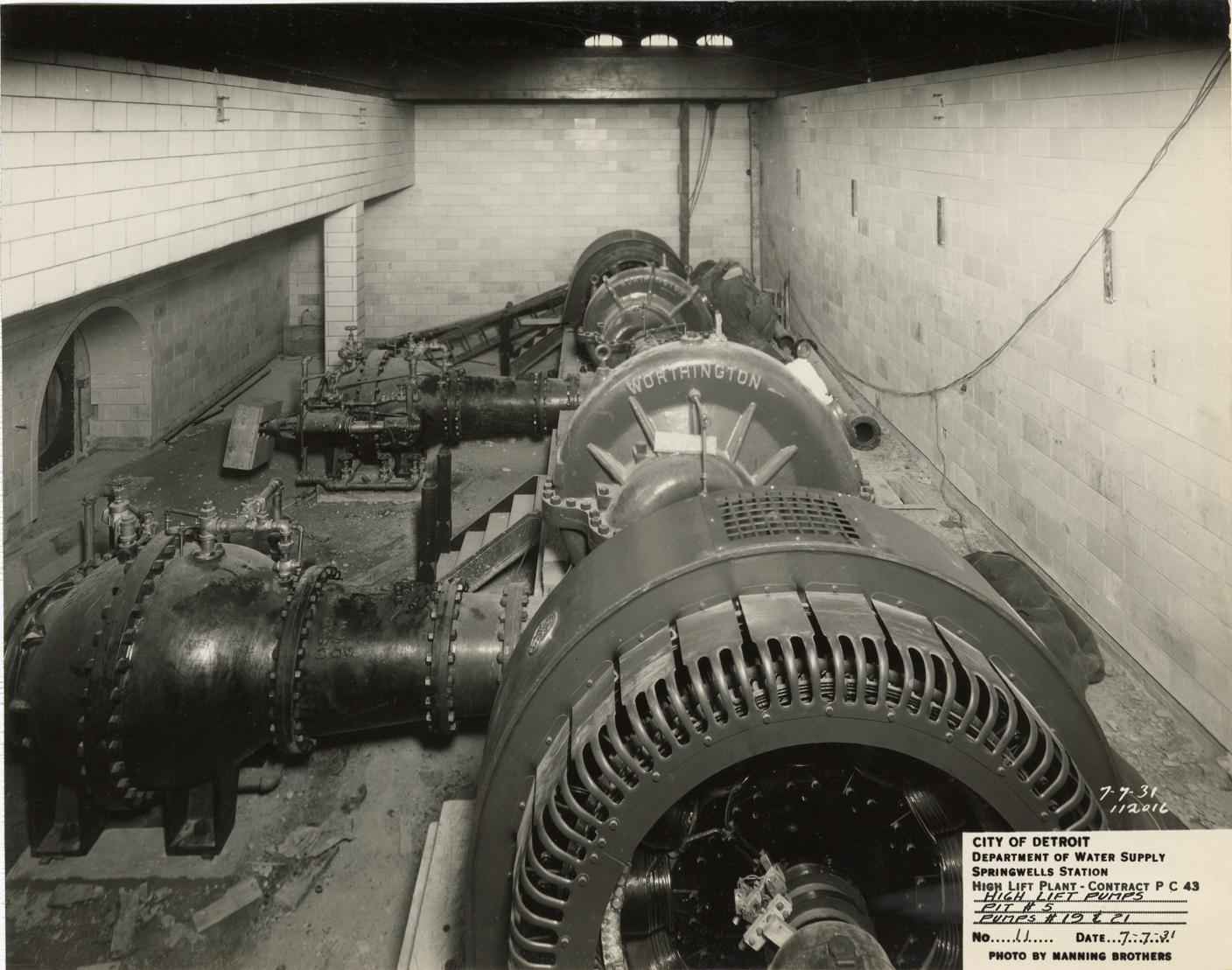 Pump pit with Worthington pumps, high lift plant during