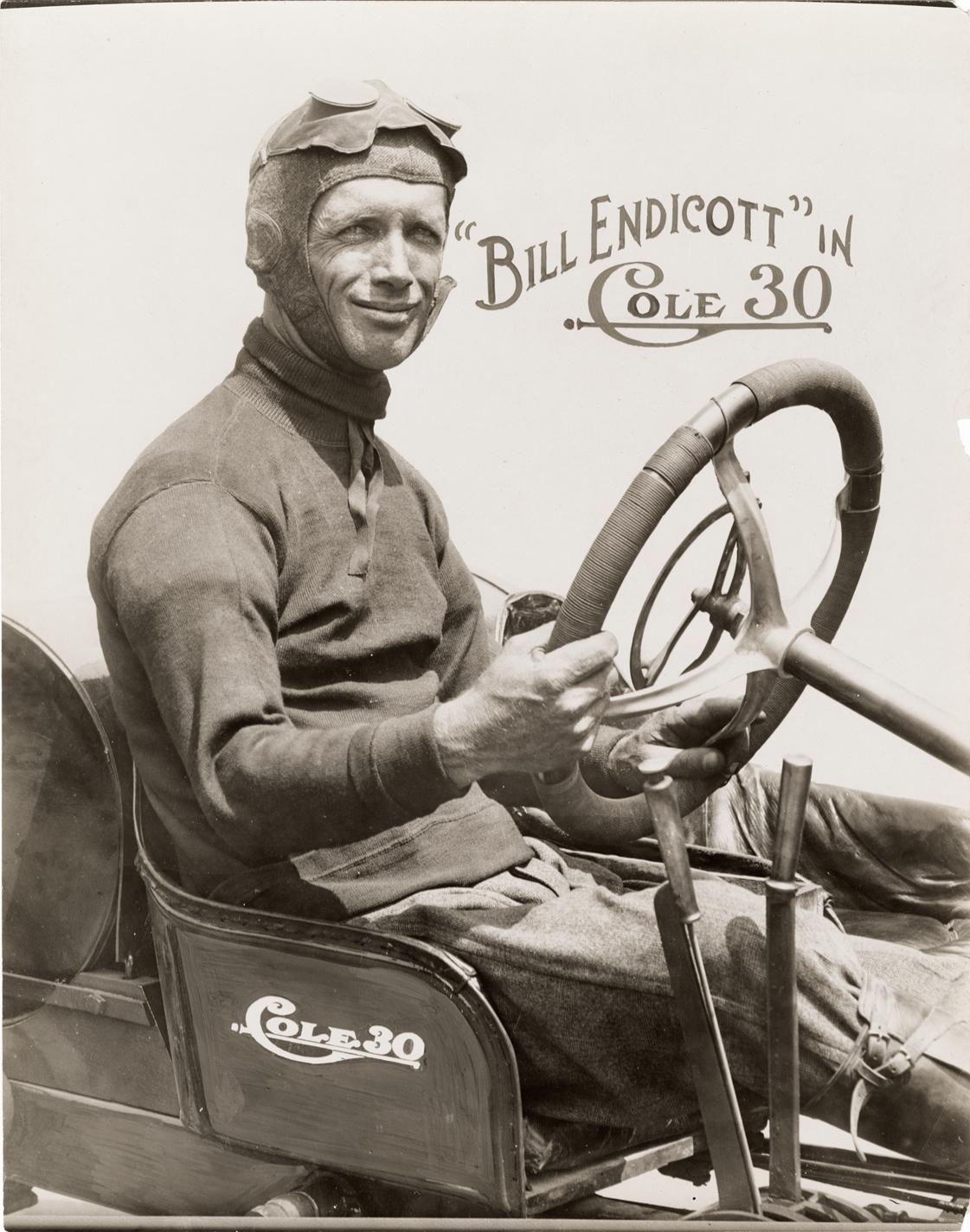 Bill Endicott posing in a Cole 30 racecar | DPL DAMS
